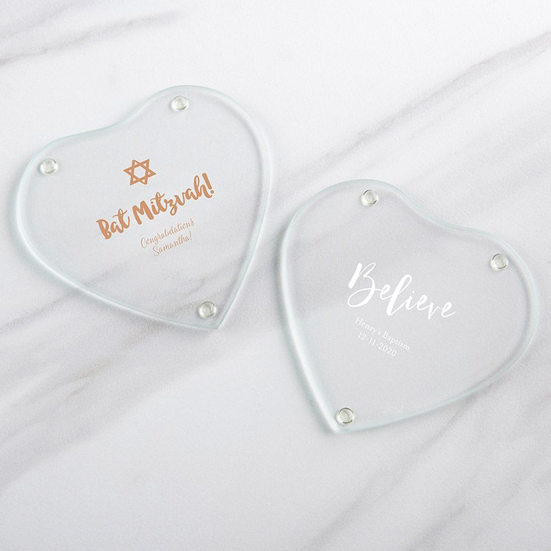 Personalized Religious Glass Heart Coaster (Set of 12) image