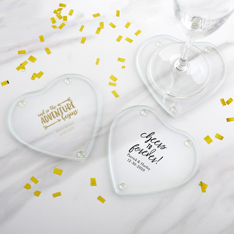 Personalized Wedding Glass Heart Coasters (Set of 12) image