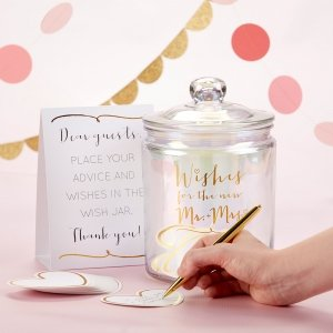 Iridescent Wedding Wish Jar with Heart Shaped Cards image