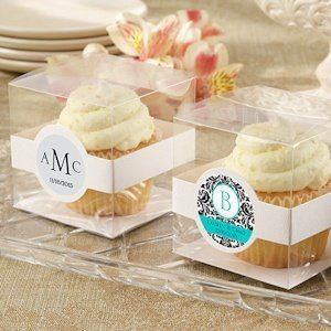 Personalized Clear Wedding Cupcake Boxes (Set of 12) image