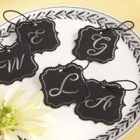 Elite Black Laser-Cut Monogram Tags (Set of 24)