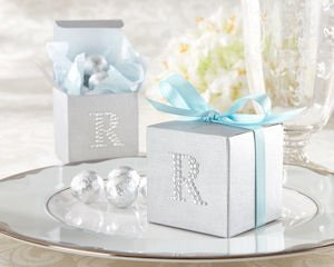 Jeweled Monogram Silver Favor Boxes (Set of 24) image