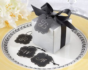 Silver Letter Favor Boxes with Optional Tag (Set of 24) image