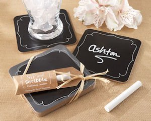 'Sip and Scribble' Chalkboard Set of 4 Coasters image