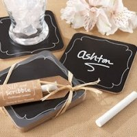 'Sip and Scribble' Chalkboard Set of 4 Coasters