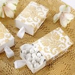 Gold Damask Sliding Party Favor Boxes (Set of 24)