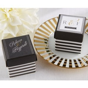 Personalized Black and White Striped Favor Box (Set of 24) image