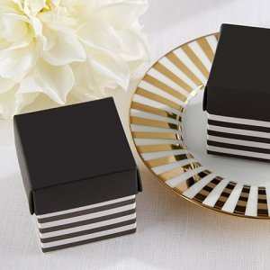 Classic Black and White Striped Favor Box (Set of 24) image