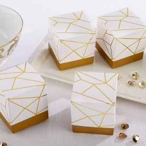 White and Gold Geometric Favor Box (Set of 24) image