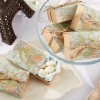 Map Travel Themed Sliding Favor Boxes (Set of 24)