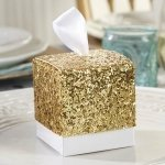 All That Glitters Gold Square Favor Boxes (Set of 24)