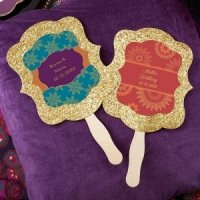 Personalized Indian Jewel Gold Glitter Hand Fans (Set of 12)