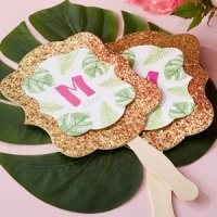 Personalized Pineapples & Palms Glitter Hand Fan (Set of 12)