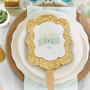 Personalized Rustic Gold Glitter Hand Fan Favors (Set of 12) image