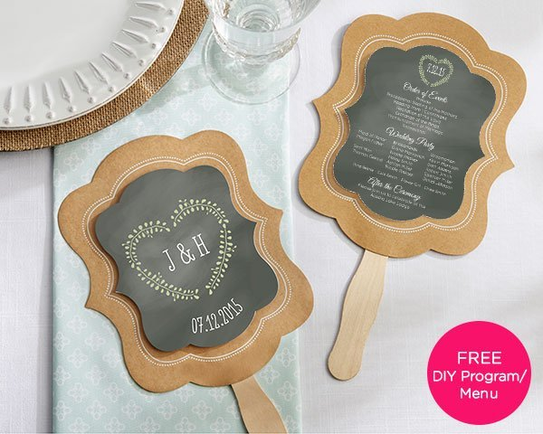 Kraft Paper Personalized Hand Fans Set Of 12