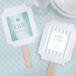 Personalized Beach Tides White Fan Favors (Set of 12) image
