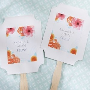 Personalized Botanical Design White Fan Favors (Set of 12) image