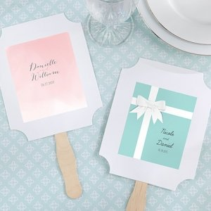 Personalized White Fan Favors (Set of 12) image