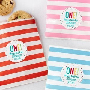 Striped 1st Birthday Paper Favor Bags (Set of 25) image