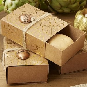 Gold Foil Leaf Print Kraft Favor Box (Set of 24) image