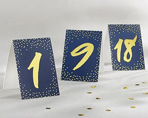 Navy and Gold Foil Tented Table Numbers (1-18) image