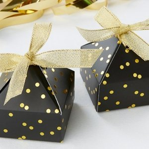 Black and Gold Foil Dot Pyramid Shaped Favor Box (Set of 24) image