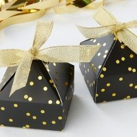 Black and Gold Foil Dot Pyramid Shaped Favor Box (Set of 24)