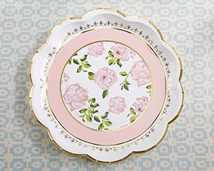 Tea Time Whimsy 9 inch Pink Paper Plates (Set of 8) image