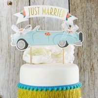 Just Married Vintage Car Cake Topper