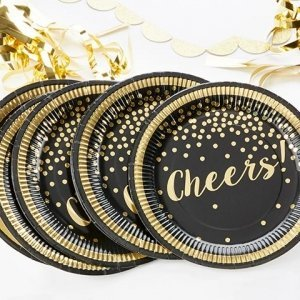 Gold Foil Party Time Cheers Paper Plates (Set of 8) image