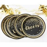 Gold Foil Party Time Cheers Paper Plates (Set of 8)