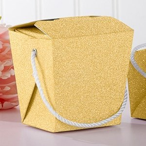 Gold Glitter Takeout Box (Set of 12) image