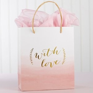 With Love Pink Watercolor Gift Bag (Set of 12) image