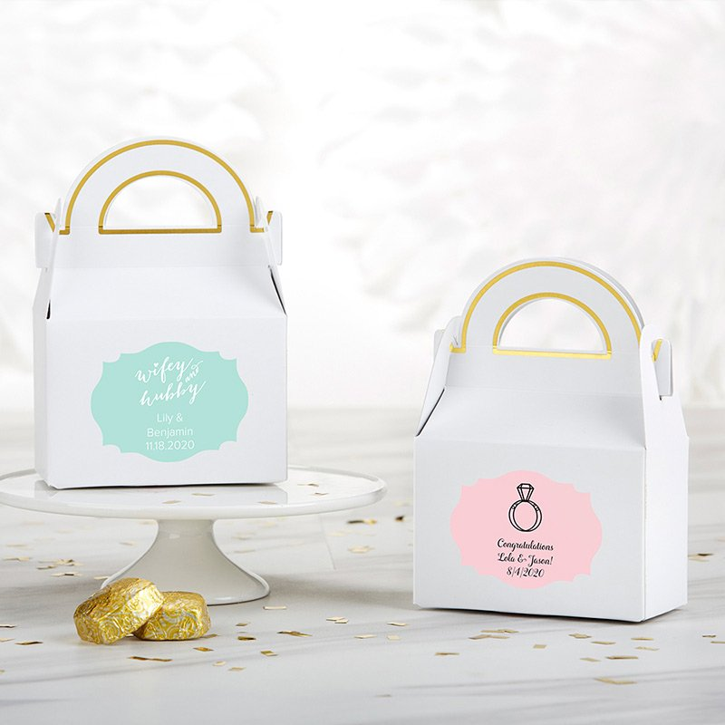 Personalized Wedding Gable Favor Box (Set of 12) image