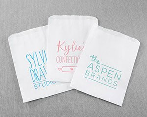 Personalized White Goodie Bags - Custom Design (Set of 12) image