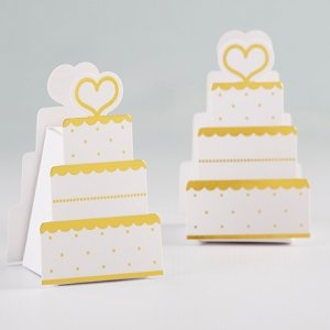 Gold Wedding Cake Favor Box (Set of 12) image