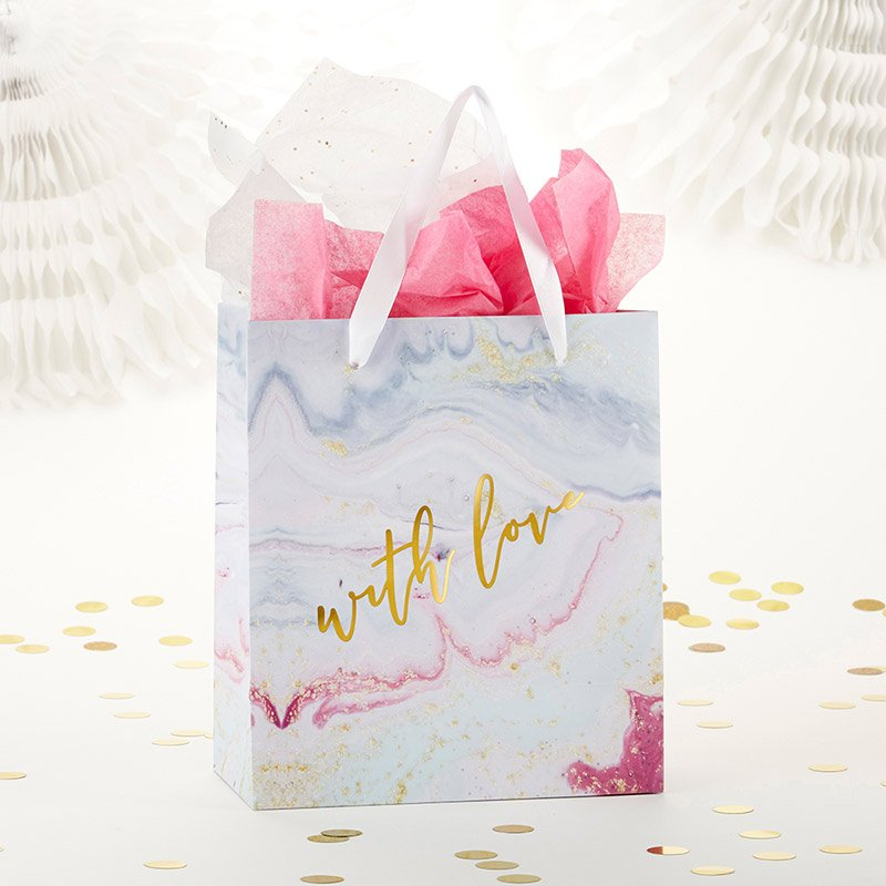 With Love Marbleized Gift Bag (Set of 6) image
