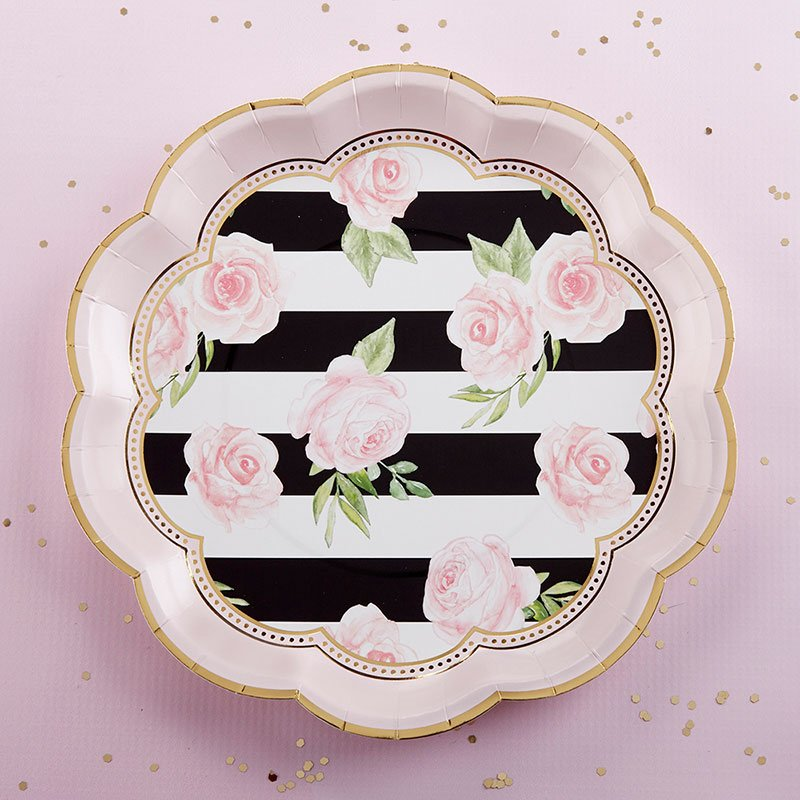 Floral Striped 9 inch Paper Plates (Set of 8) image