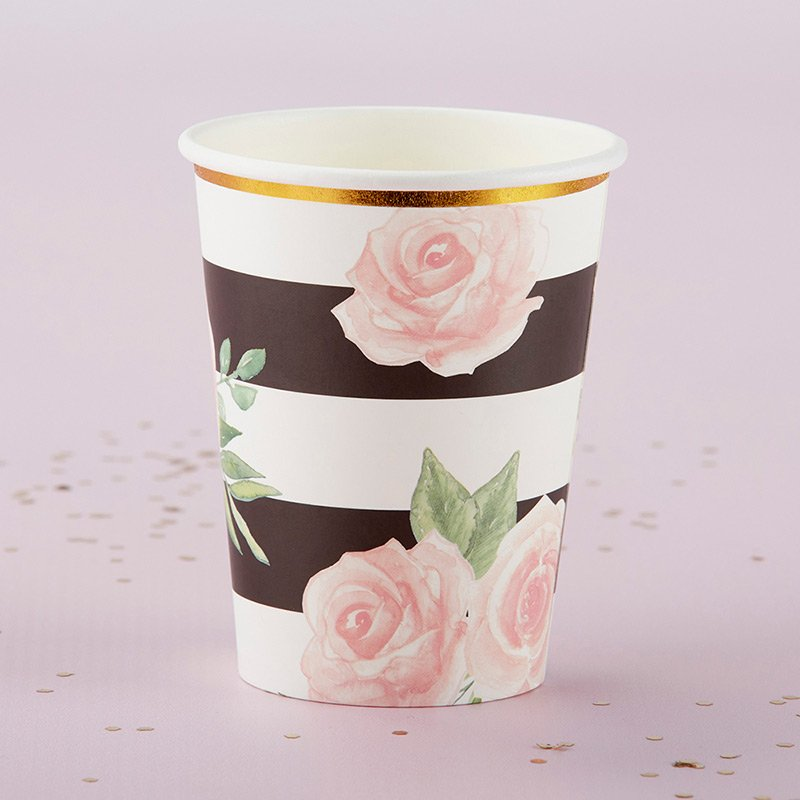 Floral Striped Paper Cups (Set of 8) image