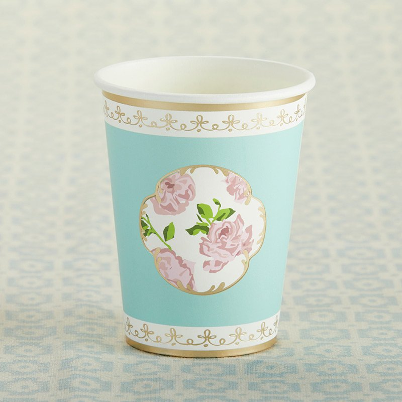 Tea Time Whimsy 8 oz. Paper Cups - Blue (Set of 8) image