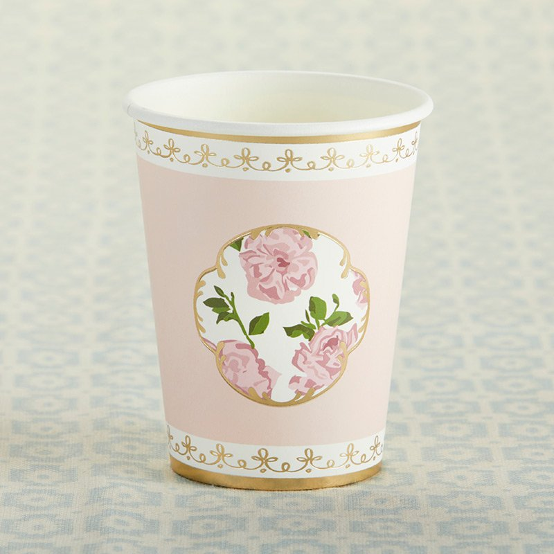 Tea Time Whimsy 8 oz. Paper Cups - Pink (Set of 8) image