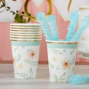 Geometric Floral 8 oz. Paper Cups (Set of 16) image