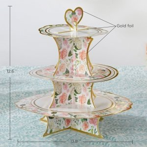 Floral 3-Tier Collapsile cardstock Cupcake Stand image