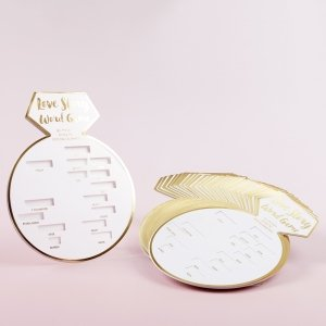 White Bridal Shower Game Card with Gold Foil - Ring Shape (S image