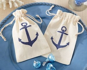 Anchor Themed Muslin Favor Bags (Set of 12) image