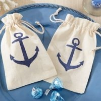 Anchor Themed Muslin Favor Bags (Set of 12)