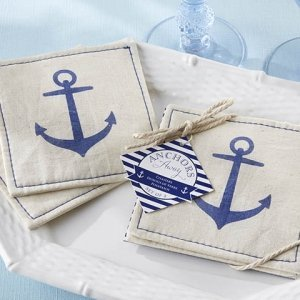 'Anchors Away' Muslin Coasters image