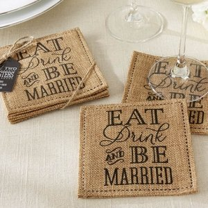 Eat Drink and Be Married Burlap Coasters image