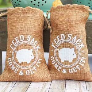 Burlap Feed Sack Rustic Country Favor Bags (Set of 12) image