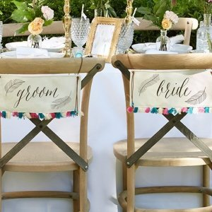 Feathers & Tassels Bohemian Bride and Groom Chair Signs image